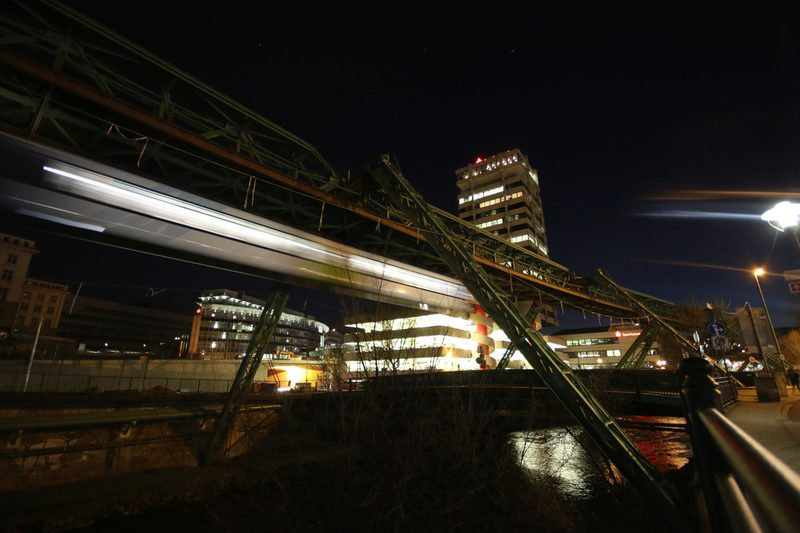 The suspension railway at night
